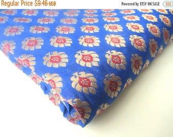 ON SALE SALE Cobalt blue gold flowers tie silk India silk brocade fabric nr  341 Remnant
