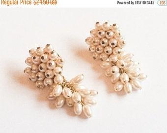 Pearl Chandelier Earrings, Gold Tone, Wired, Pierced, Vintage Jewelry, SUMMER SALE