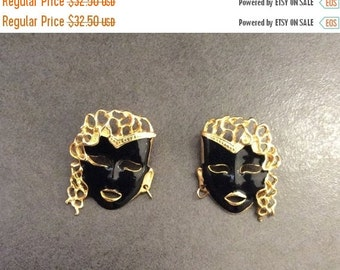 Mask Earrings, Black Enamel, Lady, Art Deco Revival Vintage Jewelry, Gift for Her SUMMER SALE