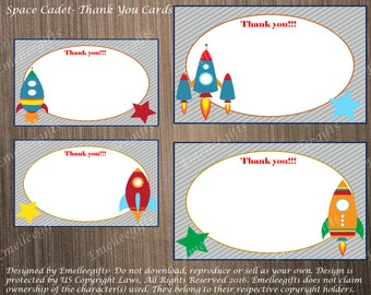 Space Cadet Thank You Note Cards ~INSTANT DOWNLOAD~
