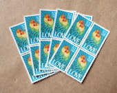 20 pieces - Vintage unused 1991 52 cent Love Birds - Parrots stamps - great for tropical wedding invitations