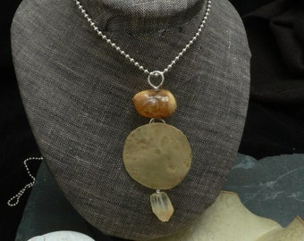 African Amber, Citrine, Brass and Sterling Silver Autumn Moon Necklace