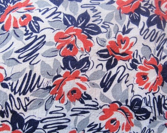 vintage FULL feed sack fabric -- pink, gray and navy floral print