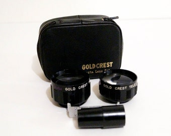 Vintage Camera Lens Set Wide Angle and Telephoto for Kodak Instamatic 100 & 150 with Mount and Case