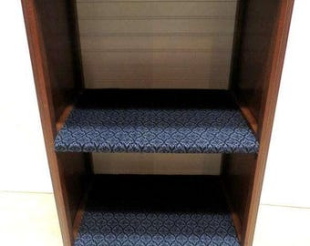 Antique Mahogany 2 Shelf Bookcase Book Case Display Cabinet Carved Rope Trim Bead Board Back Royal Blue Cloth Covered Shelves American Made
