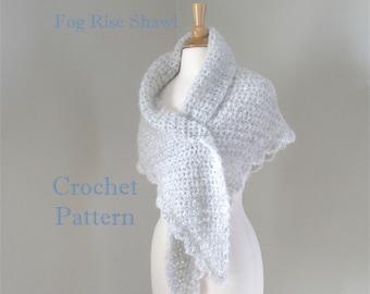 Crochet Shawl Wrap Pattern, Side to Side Shawl, Chunky Shawl Pattern, Quick Crochet, Scallop Lace Edge, Prayer Shawl Pattern