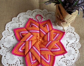 CROCHET Pot Holder PATTERN Crocheted Tea Potholder Kitchen Star Crochet Coaster Pot Holder Oven Holder pdf pattern Instant Download cute pdf