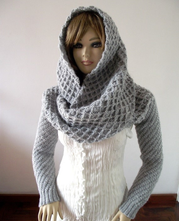 Knitting Pattern For Scarf With Sleeves : KNITTING PATTERN HOOD with Sleeves Hooded Scarf Pattern - Khloe Scarf with sl...