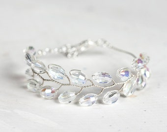 692 Silver crystal bracelet, Wedding bracelet, Bridal crystal bracelet, Silver bracelet, Wedding jewelry Bracelet for bride Crystal bracelet
