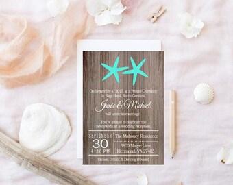 Rustic Beach Wedding Reception Invitation with Starfish, beach wedding reception, Reception Only Invitation, starfish invitation