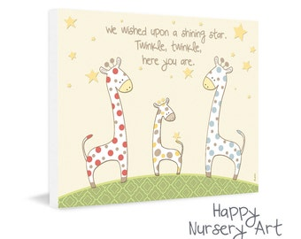 Nursery Prints,Picture for Nursery,Children's Wall Art ,Nursery Decor ,Polka Dots Giraffes,art boys or girls,we wished upon a shinning star