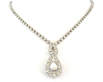Clear Rhinestone Necklace Silver Tone Metal Dangle Costume Jewelry Vintage Wedding Necklace - 18 inches