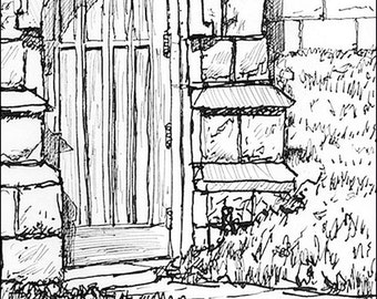 Brides Door of Church architecture pen and ink art print archival 8.5x11 Home Decor Wall Decor and Living Art Wall Hangings