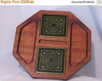 Vintage Wooden Hand Carved Serving Tray With Inset Aztec Green Ceramic Tile