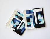 Blue Potholders, Pot Holders,  Modern Pot Holders, Hostess Gift (set of 2), Blue, Abstract Table Decor