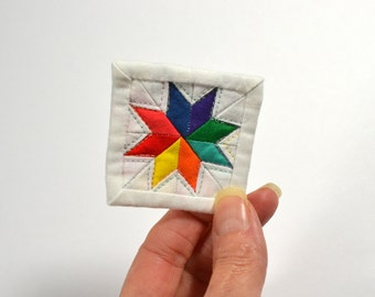 Mini Star Quilt, Rainbow Quilt, Mini Mini Quilt, Fiber Art, Rainbow Mini Quilt, Rainbow