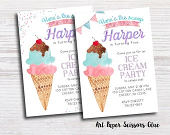 Ice Cream Party Invitations/ Ice Cream Social Invitations/ Ice Cream Invitations/ Birthday Invitations/ Ice Cream Social Invite/ Sprinkle