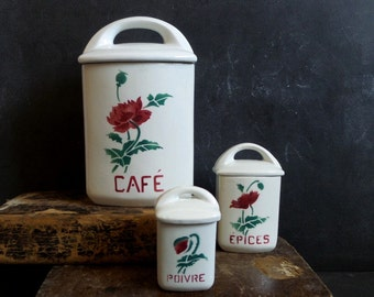 French antique set of 3 kitchen canisters 1930s. Kitchen containers.Box. Kitchen storage. French canisters Shabby chic