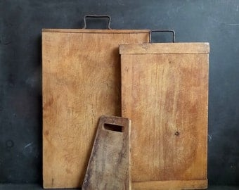 2 Antique French professional Cutting boards . Wood block. Bread board. Chopping board . Kitchen wall decor