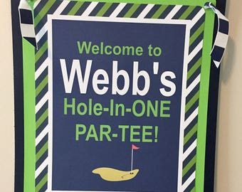 PREPPY GOLF Birthday or Baby Shower Door or Welcome Sign - Navy Lime Green