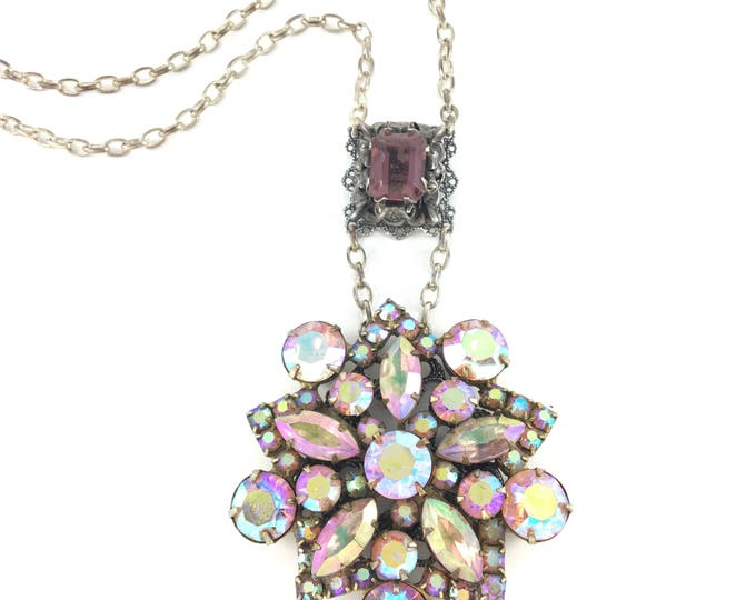 Vintage Pink Aurora Borealis Rhinestone Brooch Necklace with Purple Glass Filigree