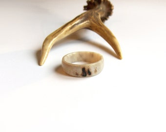 Deer antler ring, Rustic wedding band, Engagement ring, Womens wedding ring, Jewelry for him, Natural, White, Tribal, Handmade by MariyaArts