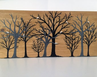 White Birds in Forest Recycled Wood Plaque Hand Painted Acrylic White Birds in Black and Gray Trees Repurposed Board Plaque Wall Art Decor
