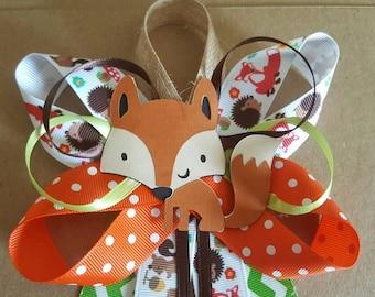 Fox, woodland theme baby shower pin/corsage