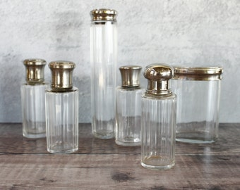 French Vintage Perfume Bottles...SIX Faceted Toilette Bottles.