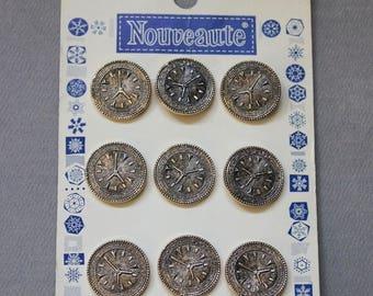 Vintage Buttons - Metal CLOCK FACES - Steampunk Accessories - MOC