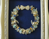"JEWELED CHRISTMAS WREATH, Blue and Gold, Vintage and New Brooch Wreath, Gold,Pearl Brooches,11"" x 13"""