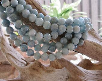Round Blue- Blue Green 10mm Large Hole Aquamarine Bead Big 2.5 Hole For Leather 10 beads