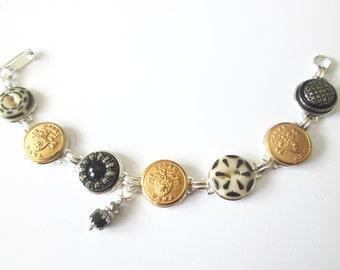WEST POINT cadet antique button bracelet. USMA uniform buttons, silver links.  One of a kind