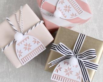 Papercut Bobble Hat Gift Tags - Set of 3