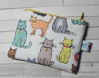 Coin purse, change purse, white with colourful cat print, cats, cat purse