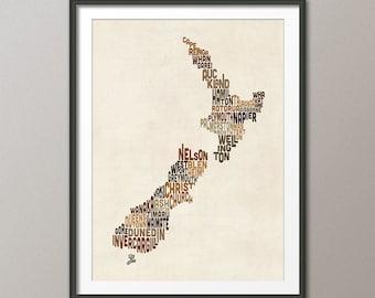 New Zealand Typography Text Map, Art Print (1479)