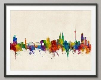 Cologne Skyline, Koln Germany Cityscape Art Print (2810)