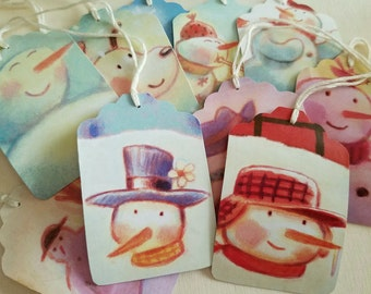 SNOWMAN  - 12 Gift Tags, Christmas, Table Setting, Party Decor, Gift Bags, Teacher, Gift Wrapping, Winter