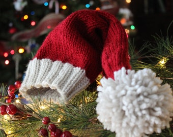 Knit Baby Santa Hat//6 to 12 months Santa Hat//Knit Beanie//Cranberry Red Santa Hat//Christmas Baby Hat