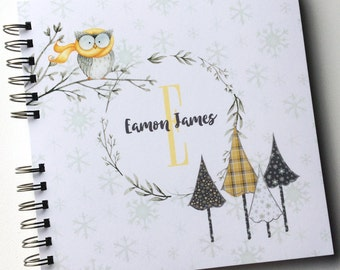 Baby Book |  Baby Memory Album | Owl Personalized Wire Bound Baby Memory Book Keepsake Album |  Winter Baby Book