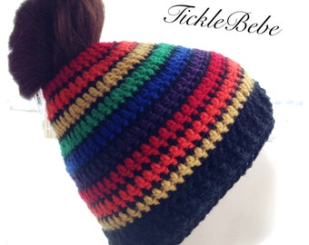 Special Limited Edition - Rainbow Stripes - Adult and Child Sizes - Messy Hair Ponytail Hat - Bun Hat - Runner Hat  - Handmade - Crochet