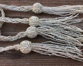 "2 Antique Art Deco Lariats, Glass Silver Seed Beads with Tassels 53"" each, Set of Two"