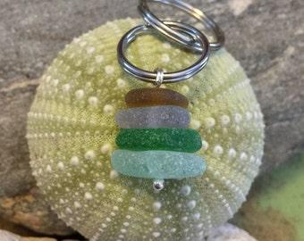 Sea glass jewelry- multi colored sea glass keychain