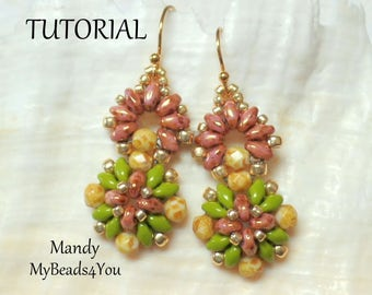 Earring Tutorial, SuperDuo Tutorial,Seed Beads, Beading Tutorial,Sead Bead Tutorials Patterns,Beading Instructions, MyBeads4You, Bead Schemi