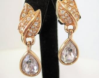 Swarovski Crystal  Earrings  - Pierced Dangle - Swan Logo