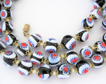 Venetian Millefiori Necklace -  Glass Beads - Red White Blue - 8mm Round - Hand Knotted Long Necklace