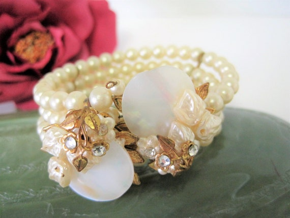 Memory Wire Pearl Bracelet - Haskell Style - Mother of Pearl Discs -  Faux Pearls - Clear Rhinestones - Wedding Bracelet
