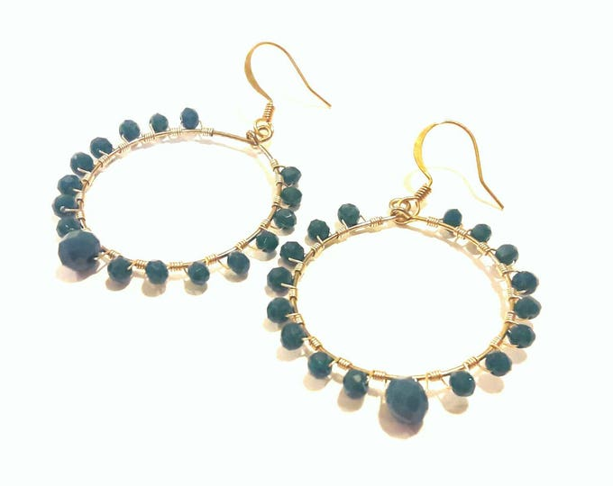Turquoise Hoop Earrings with Gold Wire Wrap, Sophisticated Style, Evening Wear, Wedding Earrings