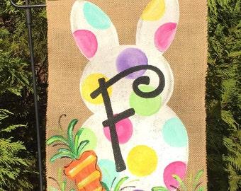 Handpainted Burlap Garden Flag ...Easter Bunny Flag