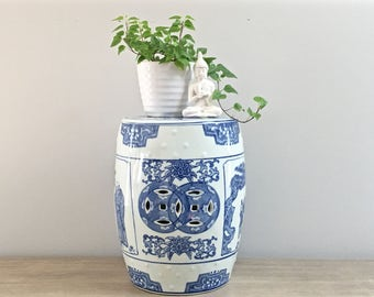 Vintage Chinese Garden Stool Blue White Porcelain Small Garden Stool Chinoiserie Chic Decor